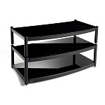 ATACAMA Equinox 2 Shelf Base Module AV Satin Black/Piano Black Glass